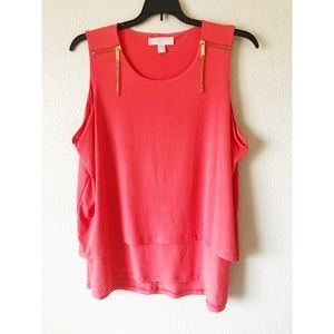 NWOT coral and gold tank top blouse